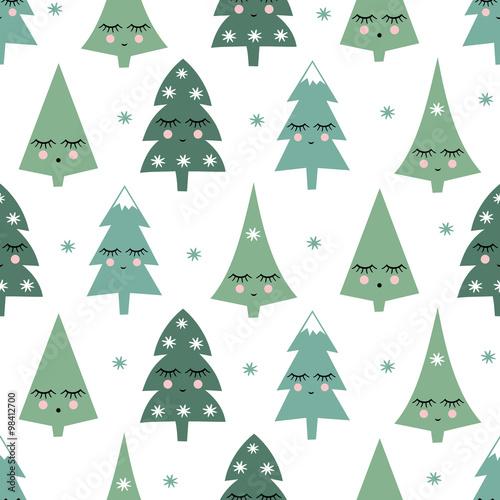 Materiał do szycia Wzór z uśmiechający się Śpiąca xmas drzew i płatki śniegu. Szczęśliwego nowego roku tło. Wektor ładny design ferie zimowe na białym tle. Dziecko rysunek styl zimowych drzew.