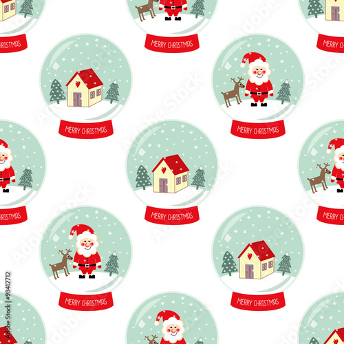 Cotton fabric Christmas Snow globe with falling snow, cute house, Santa Claus, Xmas tree and deer seamless pattern. Cute Merry Christmas background. Glass ball gift design illustration.