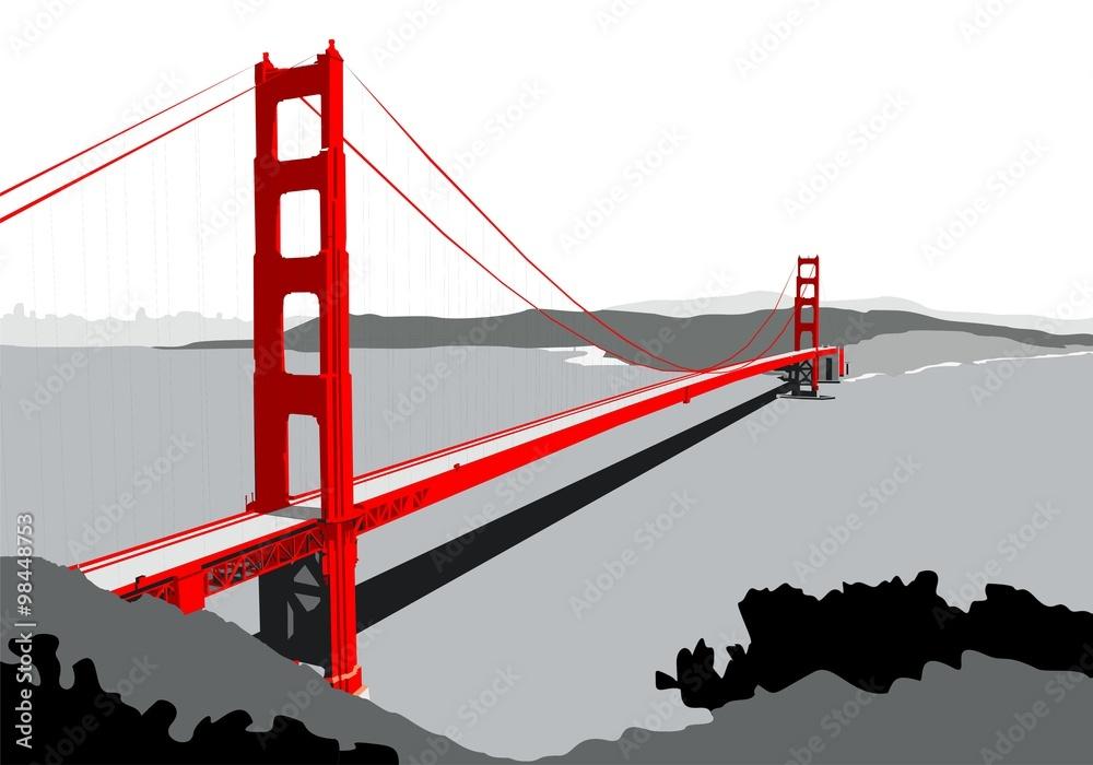 most golden gate bridge czarno-biały - powiększenie