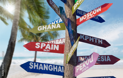 Signs  showing distances to major countries on the tropical beac Poster