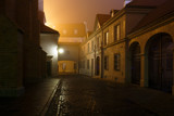 Fototapety Street of the old city in Warsaw at night