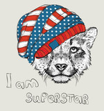 Hand draw cheetah in a USA hat. Vector illustration - 98459137