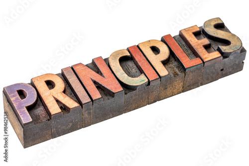 principles word in vintage wood type