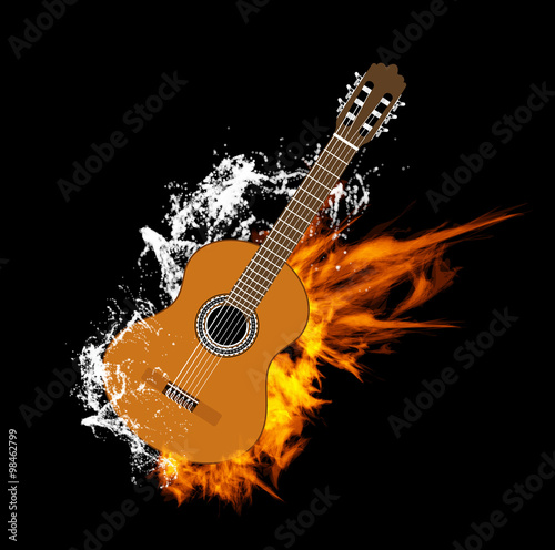 Fototapeta Acoustic Guitar on Fire and Water