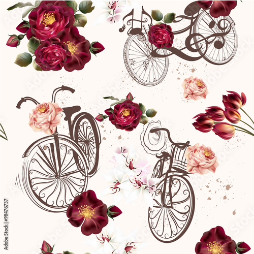 Materiał do szycia Cute vector invitation with fake bicycle and flowers