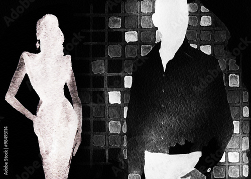 man and woman .abstract watercolor illustration - 98493114
