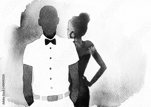 man and woman .abstract watercolor illustration - 98493124
