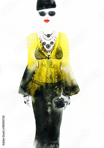 woman with elegant dress .abstract watercolor .fashion background - 98493758