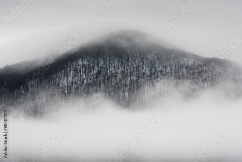 Foggy Landscape in Mountains. A view from mountains to covered with foggy landscape. - 98504183
