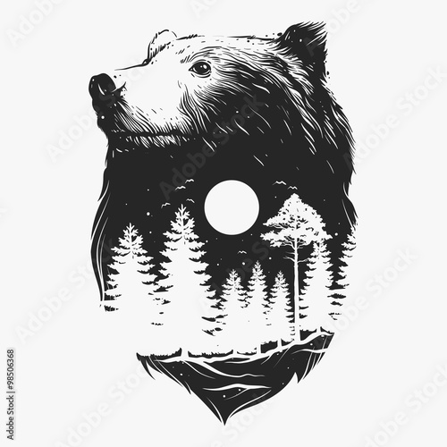 Abstract head of the bear  - 98506368