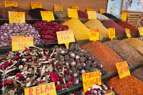Spices at the Spices Bazaar in Istanbul, Turkey  Poster