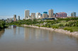 a view of downtown Edmonton Alberta with reflections in the North Saskatchewan river