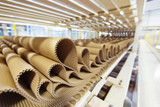Closeup image of pleat cardboard row at factory background. - 98528774