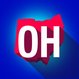 Ohio OH Letters Abbreviation Red 3d State Map Long Shadow