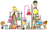 Fototapety Cartoon children study chemistry experimenting in laboratory with test tube beaker and science tool in isolated background (vector)