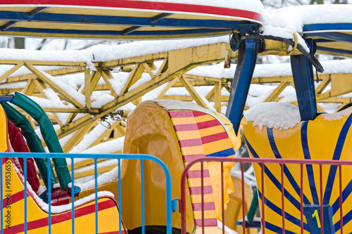 """empty roller coaster cabin in amusement park"" Stock photo ..."