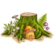 Obrazy na płótnie, fototapety, zdjęcia, fotoobrazy drukowane : House for gnome made from mushroom