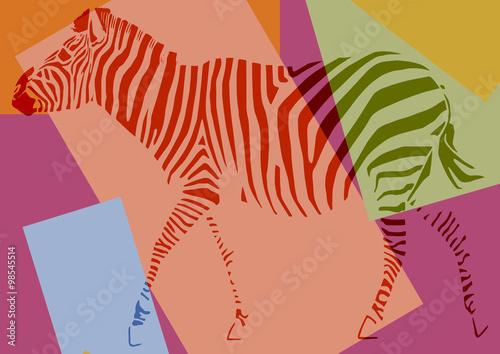 Obraz na Szkle Zèbre pop art