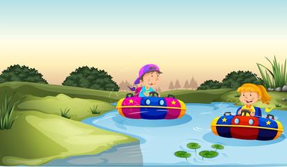 Dzieci, jazda na łodzi gumowych