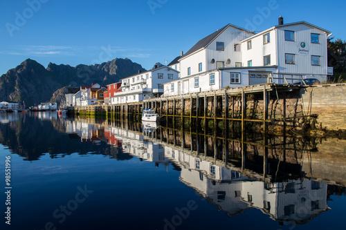 Foto op Aluminium Bergen Henningsvaer fishing village, Norway