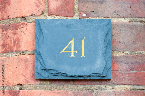 Poster House number 41 sign