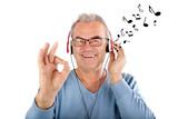 Musik hören mit Noten, isoliert