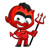 Diablo con tridente y cara de malo
