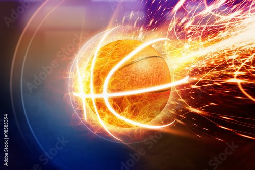 Poster, Tablou Burning basketball