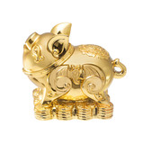 Golden Chinese Pig statue isolated on the white backgroun