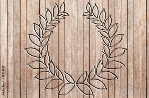 couronne de laurier ciselé dans panneau de bois brut Stock photo  ~ Panneau Bois Brut