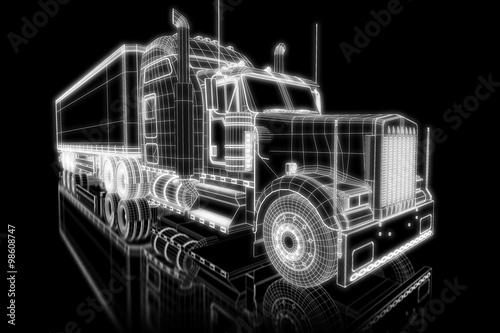 obraz PCV Truck as wireframe