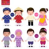 Fototapety Children of the world;  Vietnam, Philippines, Brunei, and Thaila