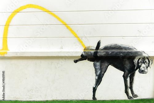 stray dog peeing-graffiti-bangkok Poster