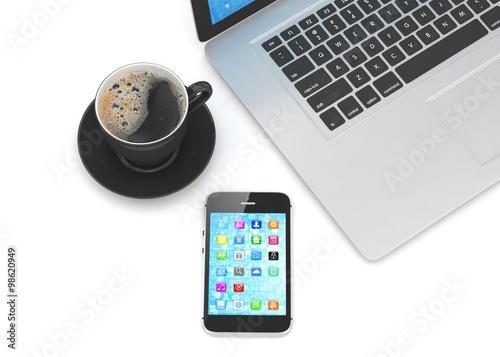 Laptop smartphone and coffee cup © Natalia Merzlyakova