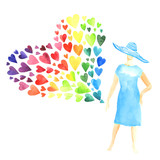Woman with a lot of colorful hearts