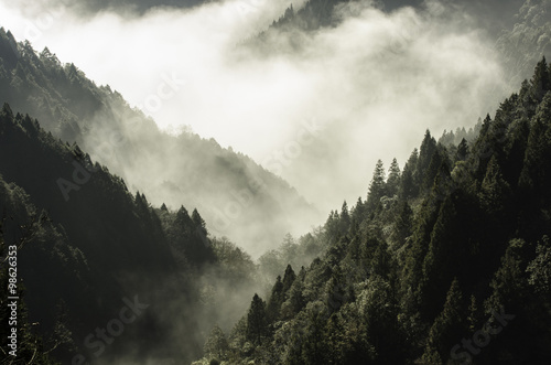 High mountain in mist and cloud - 98626353