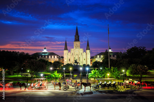 Saint Louis Cathedral and Jackson Square in New Orleans, Louisia Poster