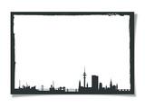 Grunge Photo Frame With Silhouette of Hamburg