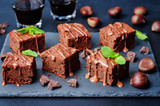 chestnut brownies with chocolate icing - 98640761