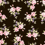 Floral pattern with pink roses - 98647703