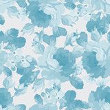 Floral pattern with blue roses - 98647783