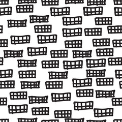 Hand drawn style abstract seamless pattern. Tiling repeat background in black and white