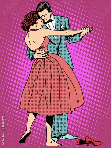 Naklejka Wedding dance lovers man and woman