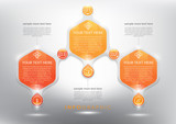 Fototapety Abstract infographic with hexagonal elements. Glossy and transparent on the white panel. Use for business concept. 3 parts concept. Vector illustration. Eps10.