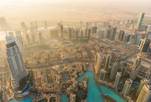 Dubai downtown morning scene Poster