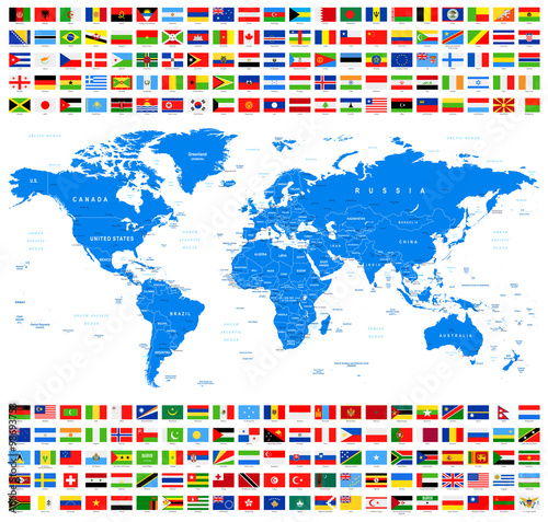 Vector Collection of World Flags and Map. Azur.