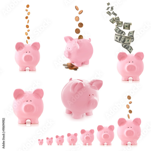 Poster Piggy Bank Collection Isolated