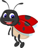 cute ladybugs waving cartoon