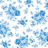 Floral pattern with blue rose - 98702311