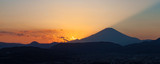 Beautiful sunset at Mountain Fuji in autumn season